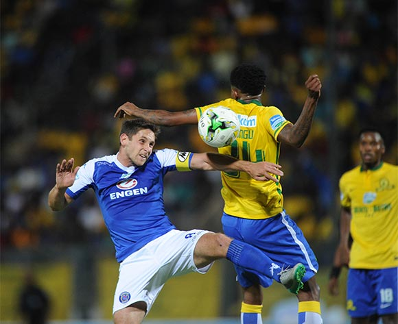 Bongani Zungu of Mamelodi Sundowns challenges Dean Furman of Supersport United during the Telkom Knockout Semi Final match between Mamelodi Sundowns and Supersport United  on 07 November 2015 at Lucas Moripe Stadium Pic Sydney Mahlangu/ BackpagePix