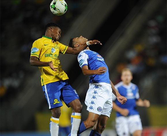 Themba Zwane of Mamelodi Sundowns is challenged by Denwin Farmers of Supersport United  during the Telkom Knockout Semi Final match between Mamelodi Sundowns and Supersport United  on 07 November 2015 at Lucas Moripe Stadium Pic Sydney Mahlangu/ BackpagePix