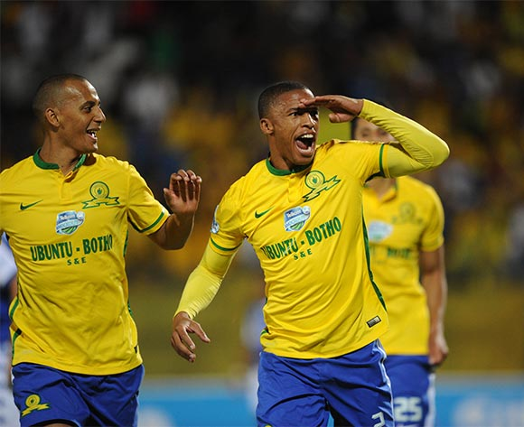 Thabo Nthethe  of Mamelodi Sundowns(2) celebrates a goal during the Telkom Knockout Semi Final match between Mamelodi Sundowns and Supersport United  on 07 November 2015 at Lucas Moripe Stadium Pic Sydney Mahlangu/ BackpagePix