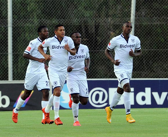 Daine Klate of Bidvest Wits celebrates a goal with teammates  during the Absa Premiership  match between Bidvest Wits and Jomo Cosmoson 08 November 2015 at Bidvest Stadium Pic Sydney Mahlangu/ BackpagePix