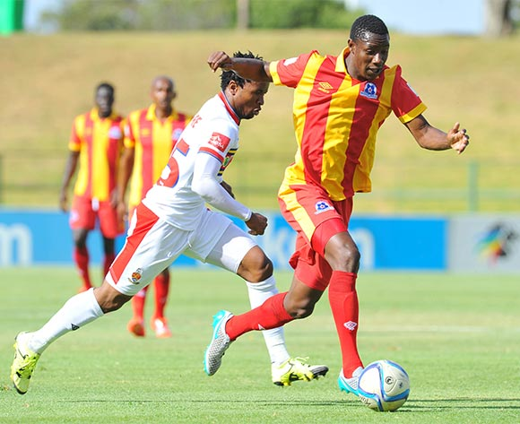 Evans Rusike of Maritzburg United challenged by Partson Jaure of University of Pretoria during the Absa Premiership match between University of Pretoria and Maritzburg United at the Tuks Stadium in Pretoria, South Africa on November 08, 2015 ©Samuel Shivambu/BackpagePix
