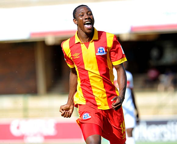 Evans Rusike of Maritzburg United celebrates his goal during the Absa Premiership match between University of Pretoria and Maritzburg United at the Tuks Stadium in Pretoria, South Africa on November 08, 2015 ©Samuel Shivambu/BackpagePix