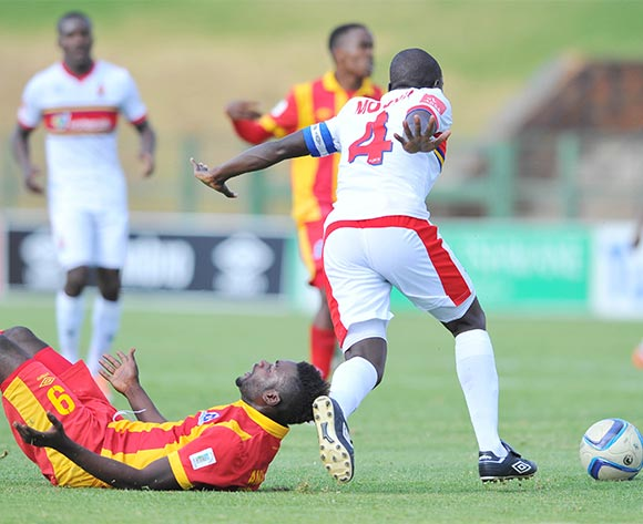 Mohammed Anas of University Pretoria challenged by Evans Rusike of Maritzburg United during the Absa Premiership match between University of Pretoria and Maritzburg United at the Tuks Stadium in Pretoria, South Africa on November 08, 2015 ©Samuel Shivambu/BackpagePix