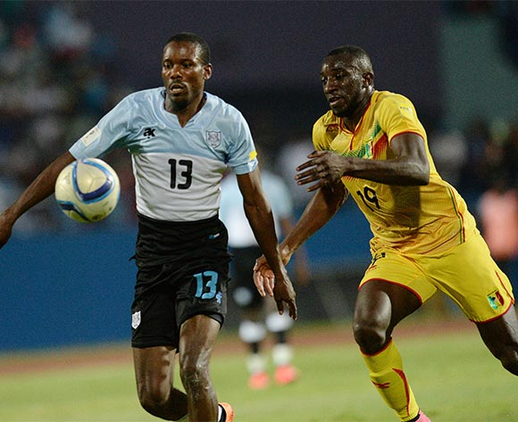 Boitumelo Mafoko of Botswana and Marega Moussa of Mali  during the FIFA World cup 2018 qualifying match between Botswana and Mali at the Francistown Stadium in Francistown in Botswana on 14 November 2015. Monirul Bhuiyan/Backpage pix