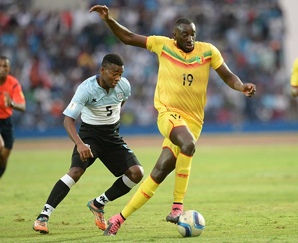 Taboo Sosome of Botswana and Marega Moussa of Mali  during the FIFA World cup 2018 qualifying match between Botswana and Mali at the Francistown Stadium in Francistown in Botswana on 14 November 2015. Monirul Bhuiyan/Backpage pix