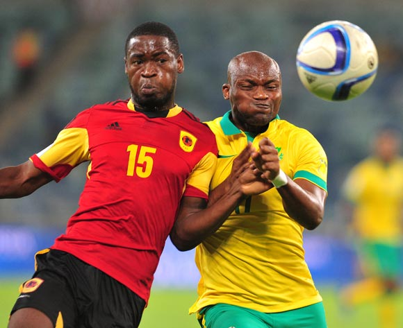 Tokelo Rantie of South Africa battles with Miguel Gerardo Quiame of Angola during the 2018 Russia World Cup Qualifier match between South Africa and Angola at Moses Mabhida Stadium, Durban on the 17 November 2015 ©Muzi Ntombela/BackpagePix
