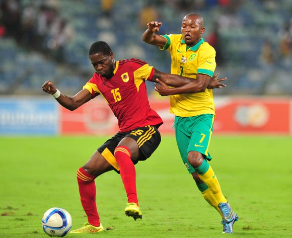 Miguel Gerardo Quiame of Angola battles with Mandla Masango of South Africa during the 2018 Russia World Cup Qualifier match between South Africa and Angola at Moses Mabhida Stadium, Durban on the 17 November 2015 ©Muzi Ntombela/BackpagePix