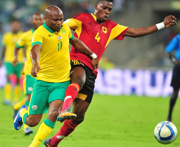 Tokelo Rantie of South Africa battles with Fabricio Mafuta of Angola during the 2018 Russia World Cup Qualifier match between South Africa and Angola at Moses Mabhida Stadium, Durban on the 17 November 2015 ©Muzi Ntombela/BackpagePix