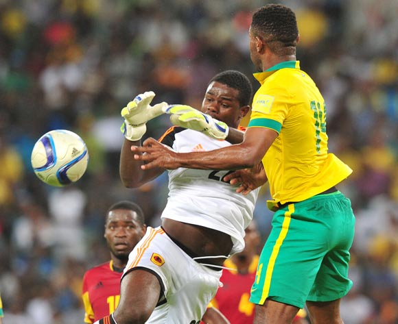 Signor Dominique Nymi António of Angola battles with Thulani Hlatshwayo of South Africa during the 2018 Russia World Cup Qualifier match between South Africa and Angola at Moses Mabhida Stadium, Durban on the 17 November 2015 ©Muzi Ntombela/BackpagePix