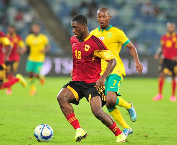 Bartolomeu J. Quissanga of Angola challenged by Mandla Masango of South Africa during the 2018 Russia World Cup Qualifier match between South Africa and Angola at Moses Mabhida Stadium, Durban on the 17 November 2015 ©Muzi Ntombela/BackpagePix