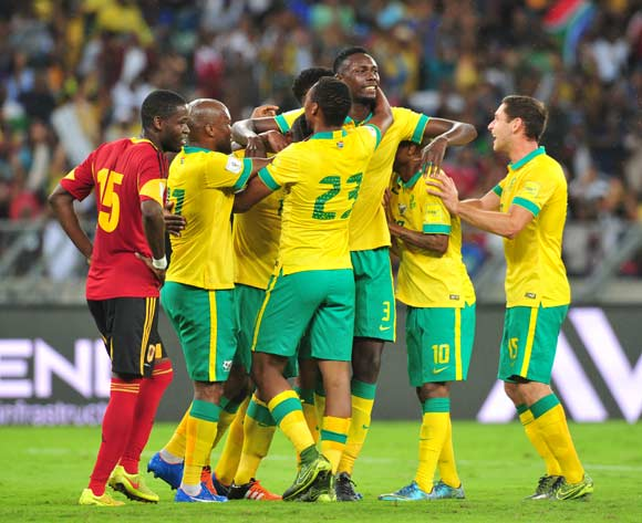 Thulani Hlatshwayo of South Africa (c) celebrates his goal with teammates during the 2018 Russia World Cup Qualifier match between South Africa and Angola at Moses Mabhida Stadium, Durban on the 17 November 2015 ©Muzi Ntombela/BackpagePix