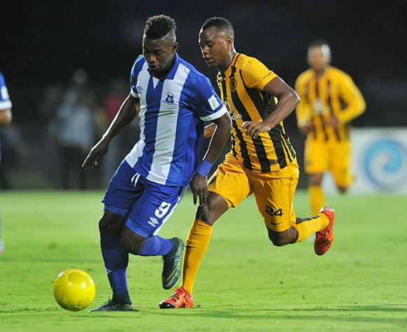 Anas Mohammed of Maritzburg United challenged by Tsepo Masilela of Kaizer Chiefs during the Absa Premiership 2015/16 match between Maritzburg United and Kaizer Chiefs at Harry Gwala Stadium, Pietermaritzburg on the 21 November 2015