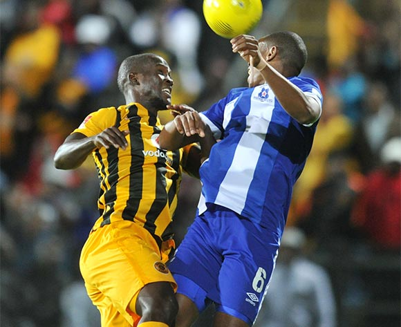 Thamsanqa Teyise of Maritzburg United battles with Sphelele Mthembu of Kaizer Chiefs during the Absa Premiership 2015/16 match between Maritzburg United and Kaizer Chiefs at Harry Gwala Stadium, Pietermaritzburg on the 21 November 2015