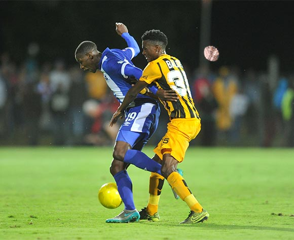 Evans Rusike of Maritzburg United challenged by Lucky Baloyi of Kaizer Chiefs during the Absa Premiership 2015/16 match between Maritzburg United and Kaizer Chiefs at Harry Gwala Stadium, Pietermaritzburg on the 21 November 2015