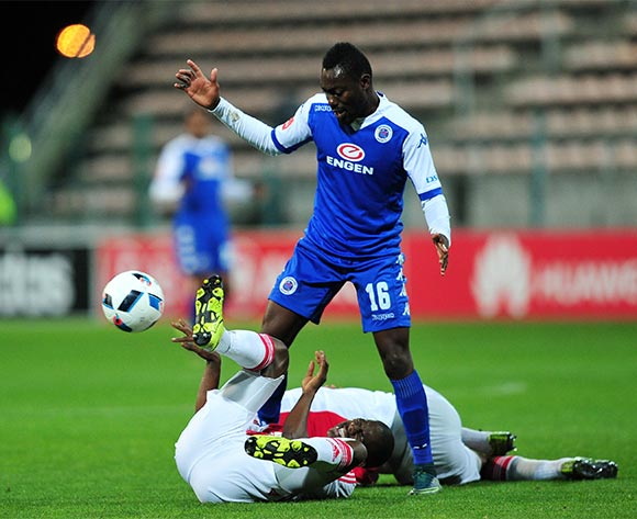 Dove Wome of Supersport United controls the ball after /Abel Mabaso and Rivaldo Coetzee of Ajax Cape Town collide during the Absa Premiership 2015/16 game between Ajax Cape Town and Supersport United at Athlone Stadium, Cape Town on 21 November 2015 ©Ryan Wilkisky/BackpagePix