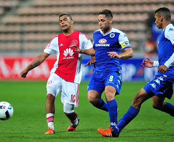 Toriq Losper of Ajax Cape Town gets his pass away as Dean Furman of Supersport United closes him down during the Absa Premiership 2015/16 game between Ajax Cape Town and Supersport United at Athlone Stadium, Cape Town on 21 November 2015 ©Ryan Wilkisky/BackpagePix