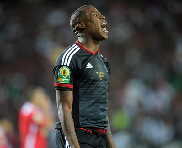 Thamsanqa Gabuza of Orlando Pirates celebrates a goal during the CAF Confederations Cup Final 1st Leg match between Orlando Pirates and Etoile Du Sahel  on 21 November 2015 at Orlando StadiumPic Sydney Mahlangu/ BackpagePix