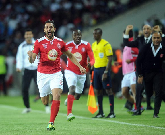 Hamdi Nagguez of Etoile Du Sahel celebrates  during the CAF Confederations Cup Final 1st Leg match between Orlando Pirates and Etoile Du Sahel  on 21 November 2015 at Orlando StadiumPic Sydney Mahlangu/ BackpagePix