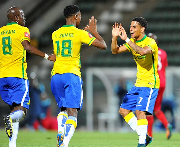 Themba Zwane (18) celebrates his goal with Hlompho Kekana and Keagan Dolly of Mamelodi Sundowns during the Absa Premiership match between Mamelodi Sundowns and Free State Stars at the Lucas Moripe Stadium in Pretoria, South Africa on November 21, 2015 ©Samuel Shivambu/BackpagePix