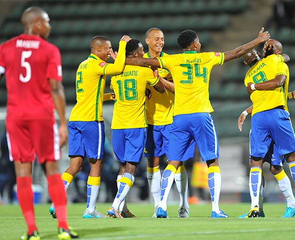 Themba Zwane of Mamelodi Sundowns (18) celebrates his goal with his teammates during the Absa Premiership match between Mamelodi Sundowns and Free State Stars at the Lucas Moripe Stadium in Pretoria, South Africa on November 21, 2015 ©Samuel Shivambu/BackpagePix