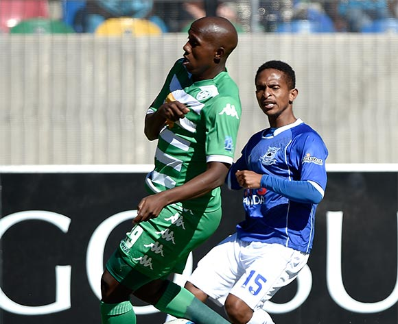 Betheul Tukane from Black Aces FC and Tumelo Mogapi from Bloemfontein Celtic FC. during the Absa Premiership match between Bloemfontein Celtic FC and Black Aces FC at Dr Molemela Stadium on 22 November 2015.