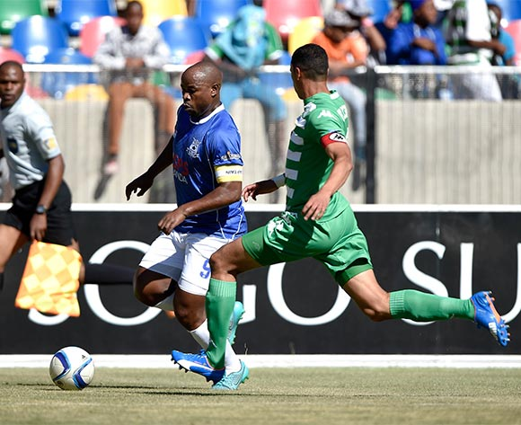 Collins Mbesuma from Black Aces FC and Bevan Fransman from Bloemfontein Celtic FC. during the Absa Premiership match between Bloemfontein Celtic FC and Black Aces FC at Dr Molemela Stadium on 22 November 2015.