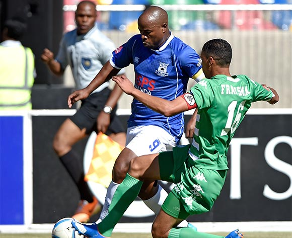 Collins Mbesuma from Black Aces FC and Bevan Fransman from Bloemfontein Celtic FC. during the Absa Premiership match between Bloemfontein Celtic FC and Black Aces FC at Dr Molemela Stadium on 22 November 2015. ©Gerhard Steenkamp/Backpage Media
