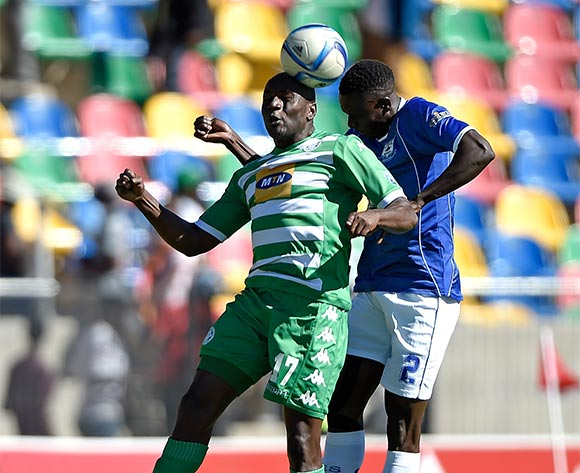 Goefrey Massa from Bloemfontein Celtic FC. and Limbikani Mzava from Black Aces FC during the Absa Premiership match between Bloemfontein Celtic FC and Black Aces FC at Dr Molemela Stadium on 22 November 2015. ©Gerhard Steenkamp/Backpage Media