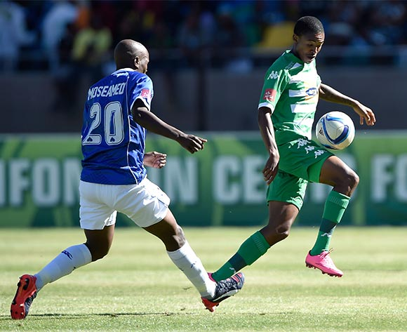 Thapelo Morena from Bloemfontein Celtic FC. and Judas Moseamedi from Black Aces FC during the Absa Premiership match between Bloemfontein Celtic FC and Black Aces FC at Dr Molemela Stadium on 22 November 2015.