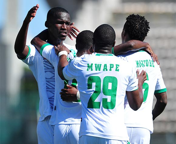 AmaZulu players celebrate a goal scored by Petrus Shitembi during the National First Division 2015/16 game between Santos and AmaZulu at Athlone Stadium, Cape Town on 22 November 2015 ©Ryan Wilkisky/BackpagePix