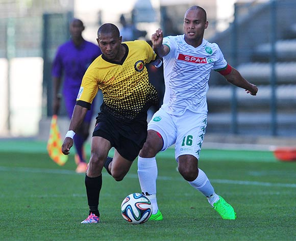Shaun Sopio of Santos FC  and Robyn Johannes of AmaZulu battle for possession during the National First Division 2015/16 game between Santos and AmaZulu at Athlone Stadium, Cape Town on 22 November 2015 ©Ryan Wilkisky/BackpagePix