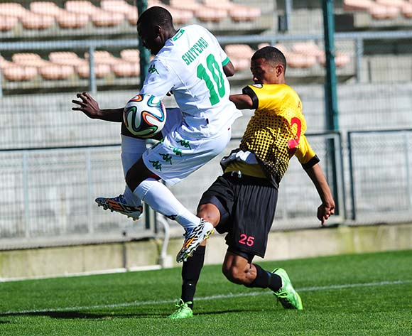 Cody August of Santos FC and Petrus Shitembi of AmaZulu battle for possession during the National First Division 2015/16 game between Santos and AmaZulu at Athlone Stadium, Cape Town on 22 November 2015 ©Ryan Wilkisky/BackpagePix