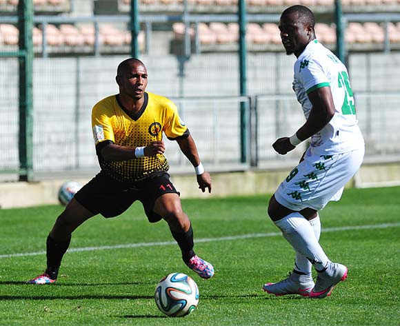 Shaun Sopio of Santos FC knocks the ball past Bornwell Mwape of AmaZulu during the National First Division 2015/16 game between Santos and AmaZulu at Athlone Stadium, Cape Town on 22 November 2015 ©Ryan Wilkisky/BackpagePix