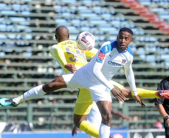 Thato Sithole of Jomo Cosmos challenges William Twala of Chippa United during the Absa Premiership match between Jomo Cosmos and Chippa United on 22 November 2015 at Olen Park Pic Sydney Mahlangu/ BackpagePix