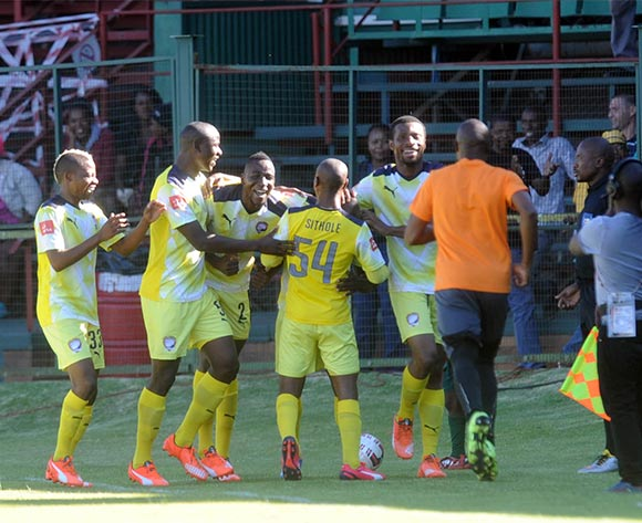 Jomo Cosmos players celebrate a goal  during the Absa Premiership match between Jomo Cosmos and Chippa United on 22 November 2015 at Olen Park Pic Sydney Mahlangu/ BackpagePix