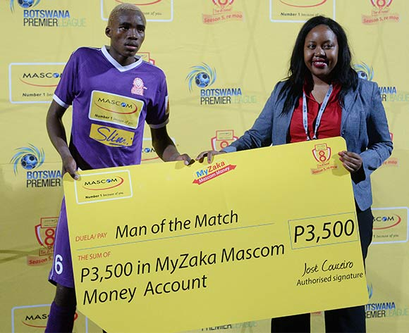 Lebogang Ditsele of Gilport Lions receiving the man of the match award after the Mascom Top8 match between Mochudi Centre Chiefs  and Gilport Lions  at the Molepolole sports complex in Botswana on 23 November 2015. Pic:Monirul Bhuiyan/Backpage pix