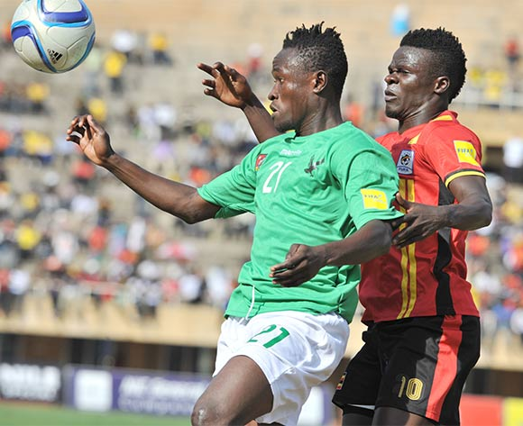 William Luwaga Kizito of Uganda Cranes challenges Djene Dakonam of Togo during the return leg of the 2018 Fifa World Cup Russia Qualifiers on 15 November 2015 at Mandela Stadium, Namboole, Kampala. ©Ismail Kezaala/BackpagePix