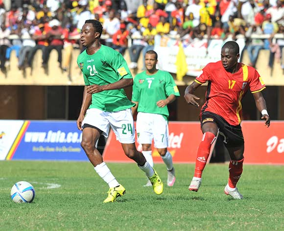 Eninful Akoete of Togo evades challenge from Farouk Miya of Uganda Cranes during the return leg of the 2018 Fifa World Cup Russia Qualifiers on 15 November 2015 at Mandela Stadium, Namboole, Kampala. ©Ismail Kezaala/BackpagePix