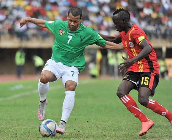 Godfrey Walusimbi of Uganda (right) challenges Dossevi Matthieu of Togo recently