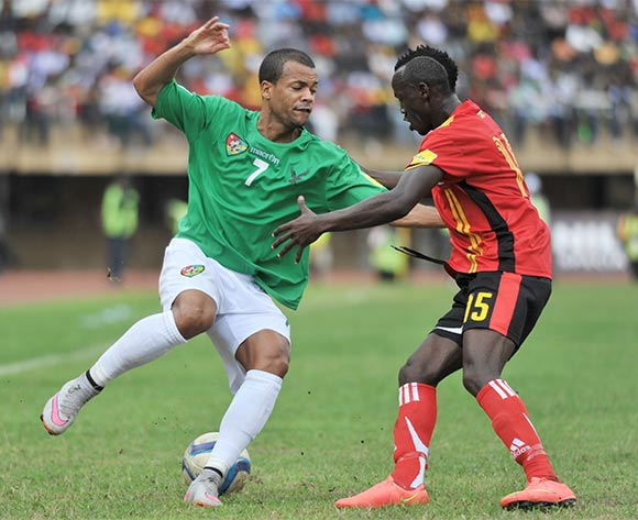 Godfrey Walusimbi of Uganda Cranes challenges Dossevi Matthieu of Togo during the return leg of the 2018 Fifa World Cup Russia Qualifiers on 15 November 2015 at Mandela Stadium, Namboole, Kampala. ©Ismail Kezaala/BackpagePix
