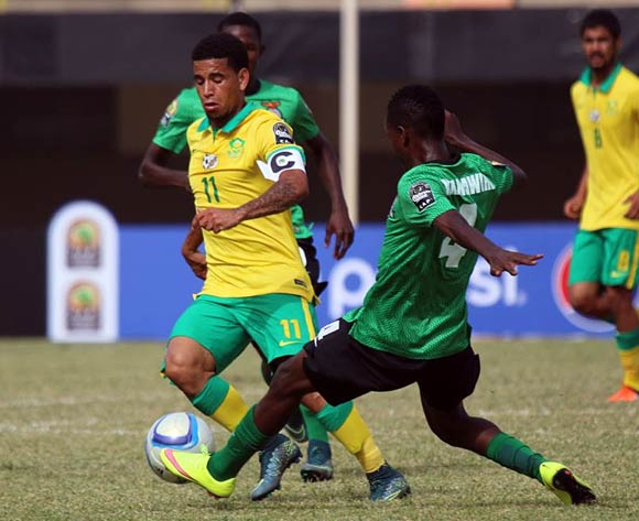 Boyd Mkandawire of Zambia and Keagan Dolly of South Africa during the U 23 African Cup of Nations match between South Africa and Zambia at Stade Leopold Stadium,Senegal on the 01 December 2015 ©/BackpagePix