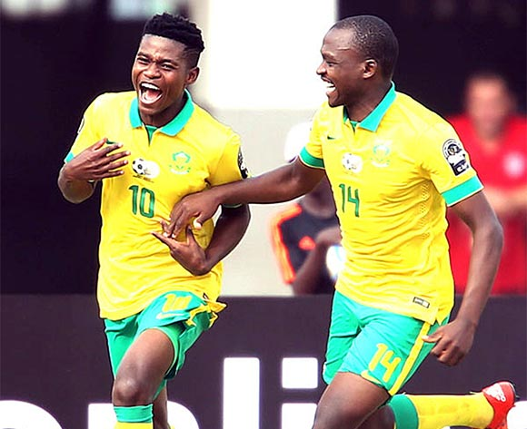 Menzi Masuku and Gift Motupa of South Africa celebrating during the U 23 African Cup of Nations match between South Africa and Zambia