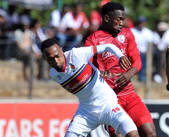 Thabo Mnyamane of University of Pretoria battles with Moeketsi Sekola of Free State Stars during the Absa Premiership 2015/16 match between Free State Stars and University of Pretoria at Goble Park, Bethlehem on the 13 December 2015