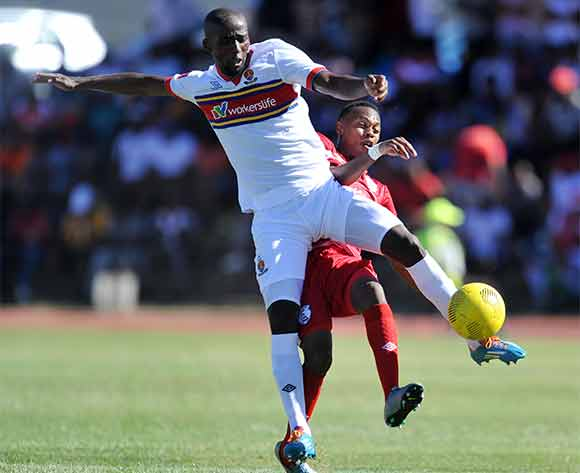 Reuben Thebakang of Free State Stars battles with Mpho Maruping of University of Pretoria during the Absa Premiership 2015/16 match between Free State Stars and University of Pretoria at Goble Park, Bethlehem on the 13 December 2015