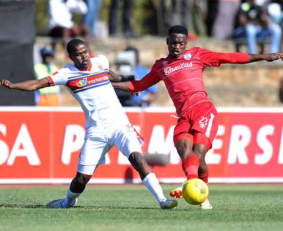 Moeketsi Sekola of Free State Stars challenged by Junior Sibande of University of Pretoria during the Absa Premiership 2015/16 match between Free State Stars and University of Pretoria at Goble Park, Bethlehem on the 13 December 2015 ©Muzi Ntombela/BackpagePix