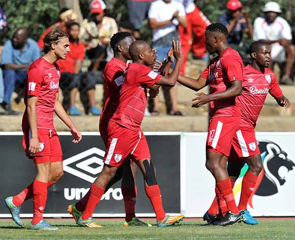 Danny Venter of Free State Stars celebrates his goal with teammates during the Absa Premiership 2015/16 match between Free State Stars and University of Pretoria at Goble Park, Bethlehem on the 13 December 2015 ©Muzi Ntombela/BackpagePix