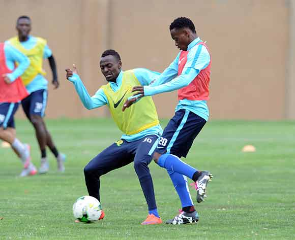 Mukuka Mulenga of Mamelod Sundowns and Khama Billiat of Mamelod Sundowns during the Mamelodi Sundowns Media Day on 14 December 2015 at Chloorkop Pic Sydney Mahlangu/ BackpagePix