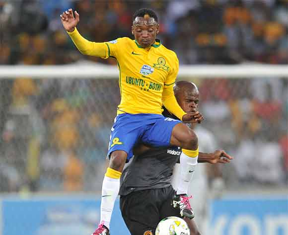 Khama Billiat of mamelodi Sundowns battles with Willard Katsande of Kaizer Chiefs      during the 2015 Telkom Knockout Final match between Mamelodi Sundowns and Kaizer Chiefs at Moses Mabhida Stadium, Durban on the 16 December 2015