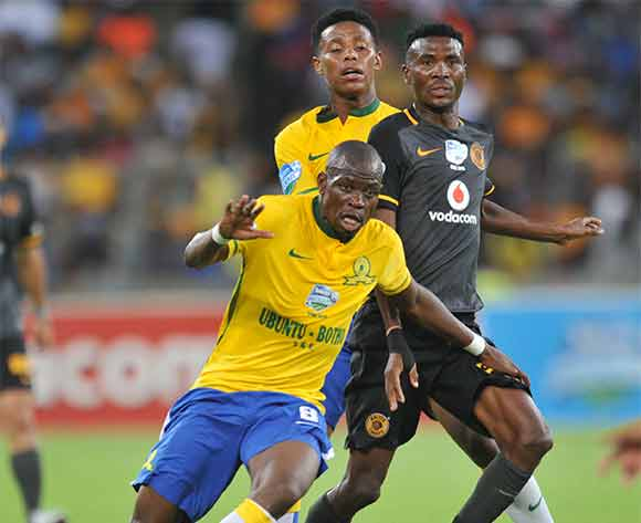 Lucky Baloyi of Kaizer Chiefs challenged by Hlompho Kekana of and Bongani Zungu of Mamelodi Sundowns during the 2015 Telkom Knockout Final match between Mamelodi Sundowns and Kaizer Chiefs at Moses Mabhida Stadium, Durban on the 16 December 2015