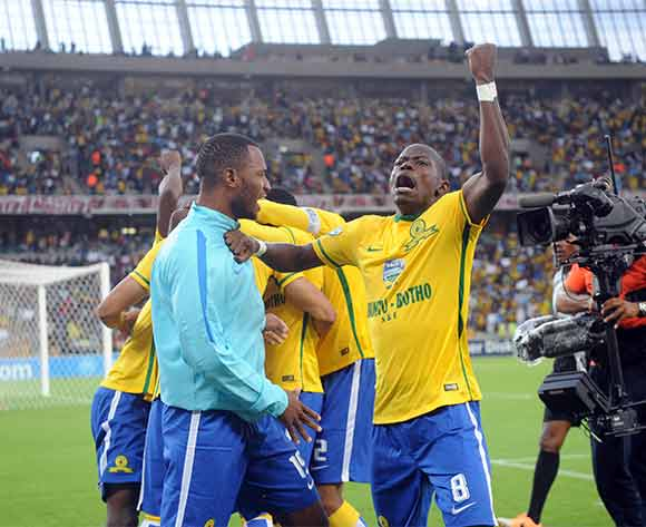 Hlompho Kekana of Mamelodi Sundowns celebrates a goal during the Telkom Knockout Final match between Mamelodi Sundiowns and Kaizer Chiefs on 16 December 2015 at Moses Mabhida Stadium Pic Sydney Mahlangu/ BackpagePix